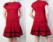 Продам бордовое хб платье в мелкую черную точку.